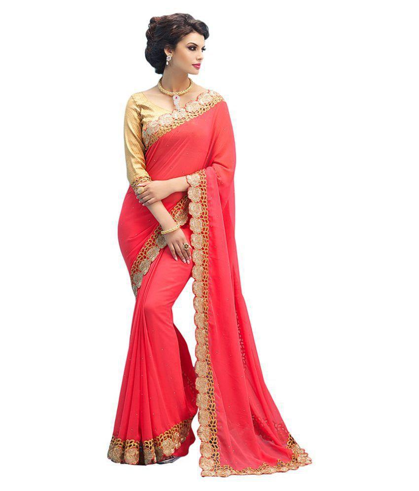 facf0b32aafde5 Darshita International Red and Beige Chiffon Saree - Buy Darshita  International Red and Beige Chiffon Saree Online at Low Price - Snapdeal.com