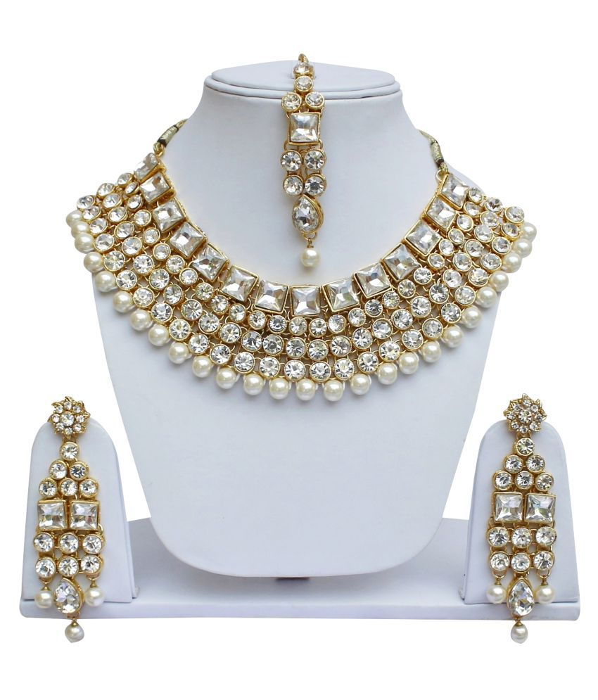 Lucky Jewellery Elegant White Color Stone And Pearl Necklace Set For Girls & Women
