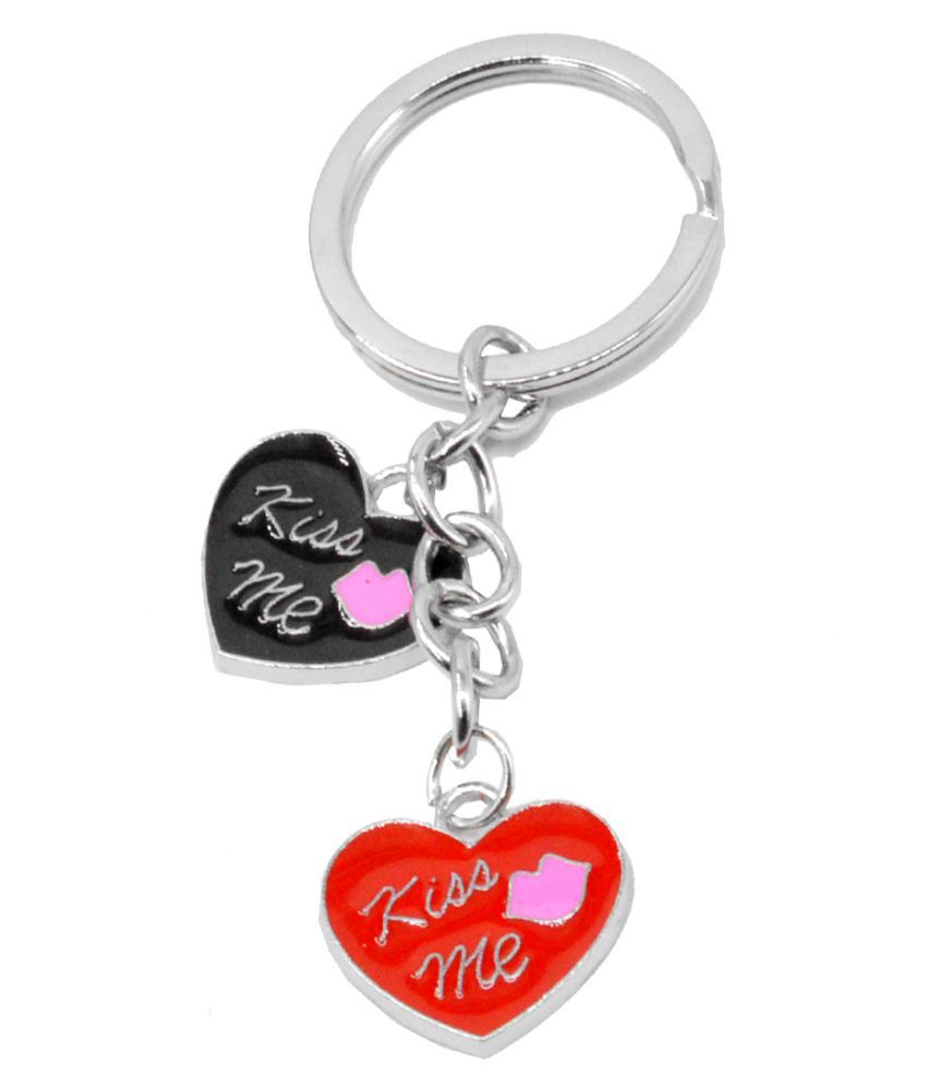 Faynci Kiss Me Love rose Lips Heart  Red Black Key Chain for Fashion Lover