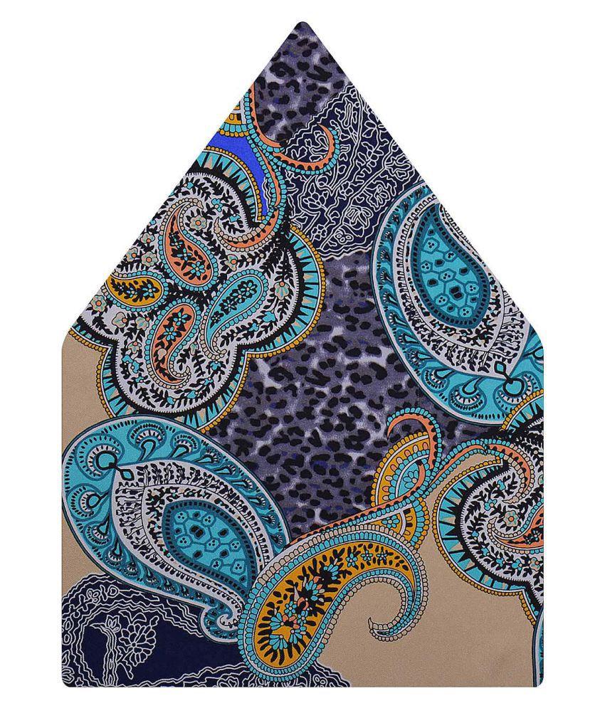 Tiekart Blue Paisley Silk Pocket Square for Men