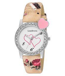 LimeStone LS Artisto~Designer strap studded analog watch for girls/women