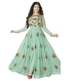 FENNY CREATION Green Georgette Anarkali Gown Semi-Stitched Suit