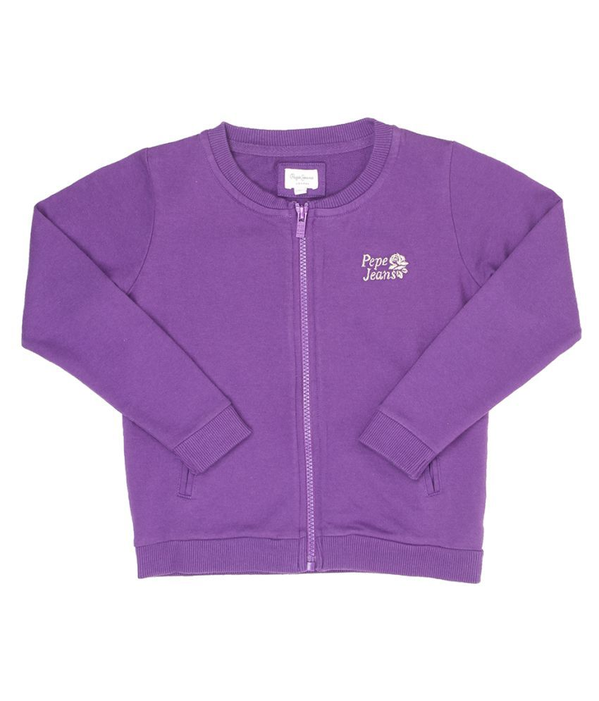 Pepe Jeans Girls Full Sleeve Casual Purple Sweat Shirt
