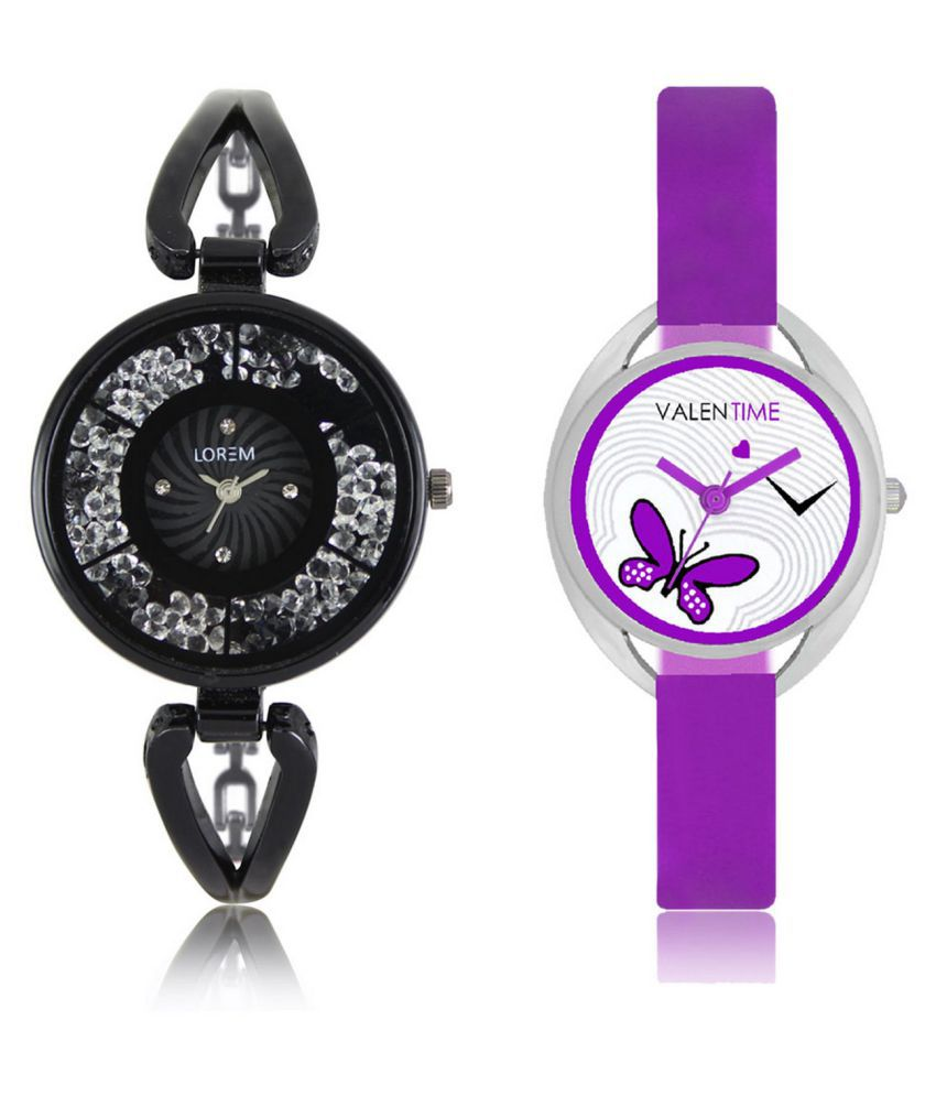 The Shopoholic Black & Purple Analog With Butterfly Dial Metal And Plastic Belt Combo Watch For Girls