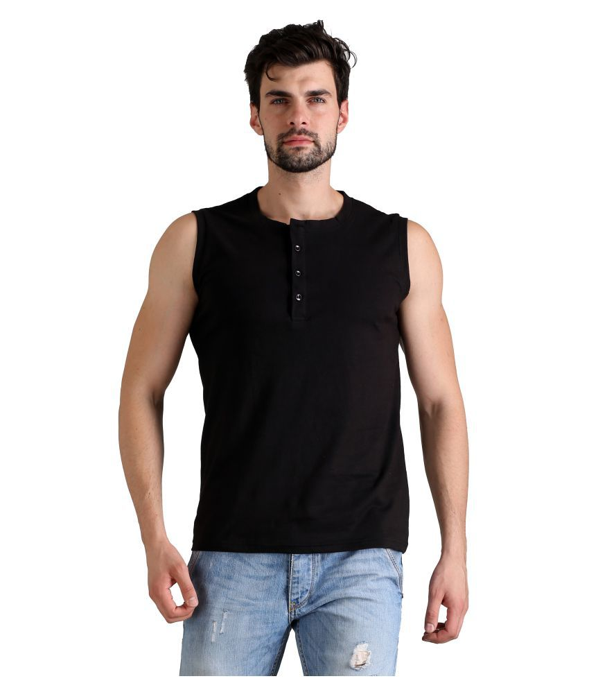 FLINGR Black Henley T-Shirt Pack of 1