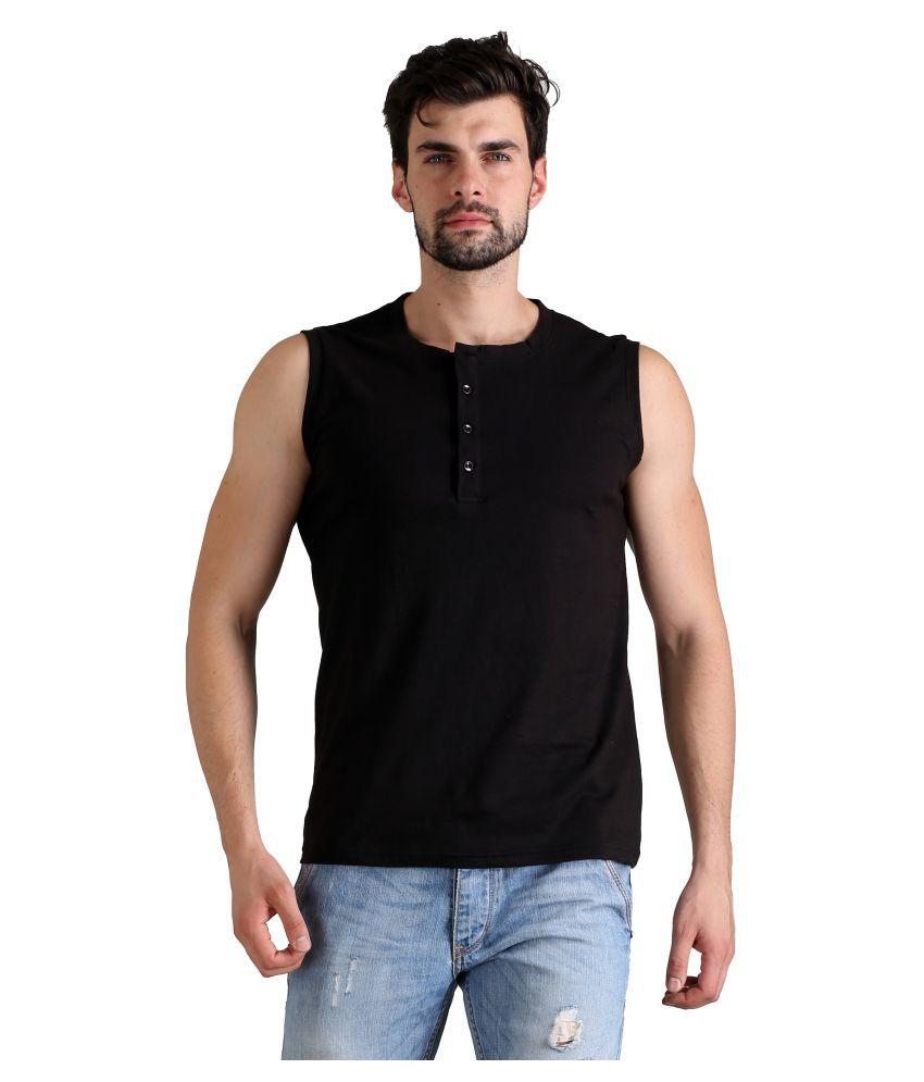 FLINGR Black Henley T-Shirt Pack of 1