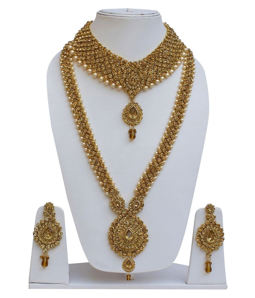 Lucky Jewellery Bridal Designer Golden Color Pearl Stone ...