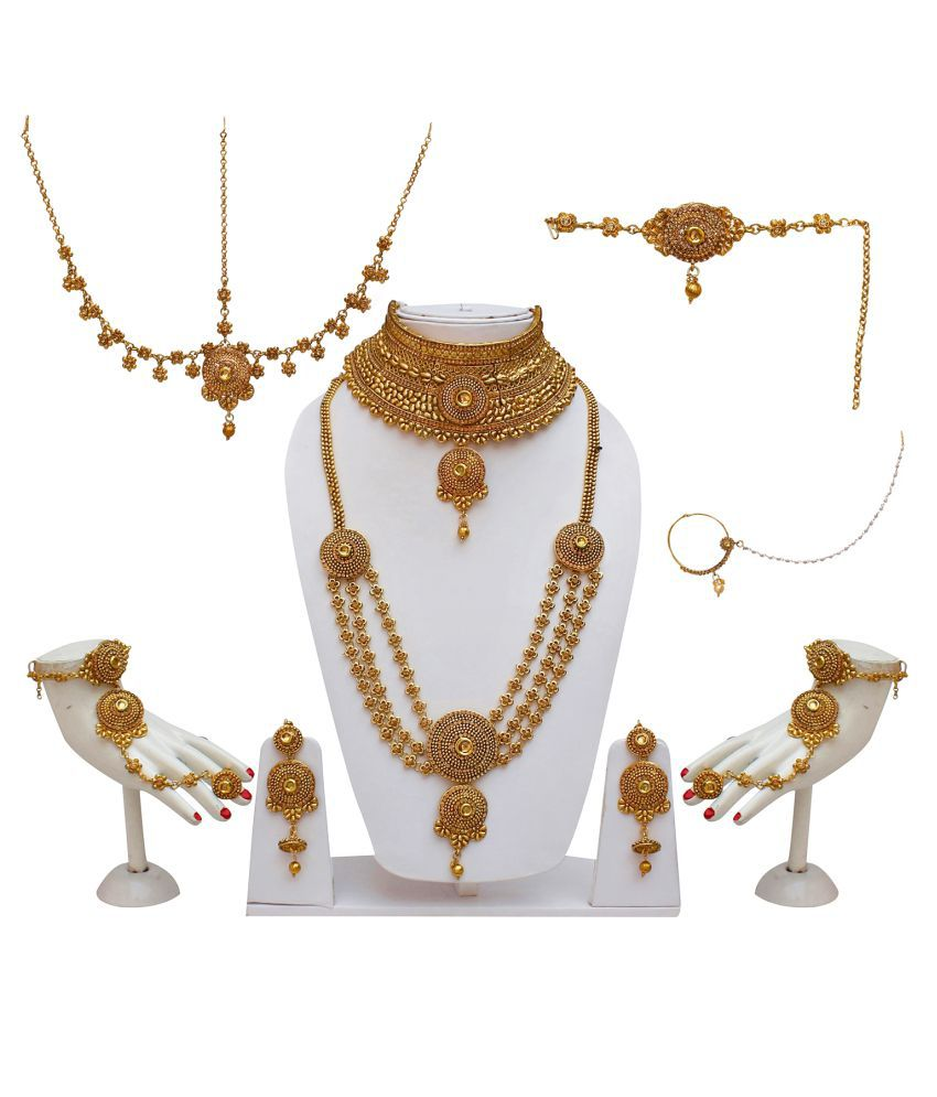 Lucky Jewellery Bridal Golden Color Gold Plated Layered Wedding