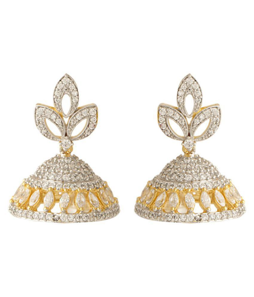 Voylla CZ Embellished Classy Jhumki Earrings With Pearl Beads For Women