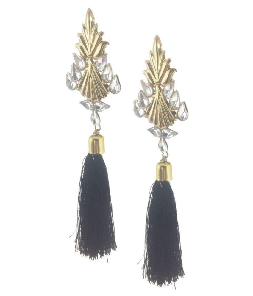 My Design Black Kundan New Designer Party Wear Long Hangings Earrings
