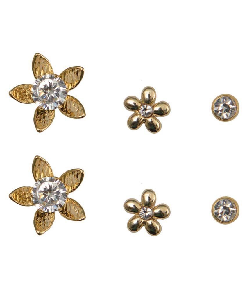 Taj Pearl Designer 3 pairs Stud Earrings