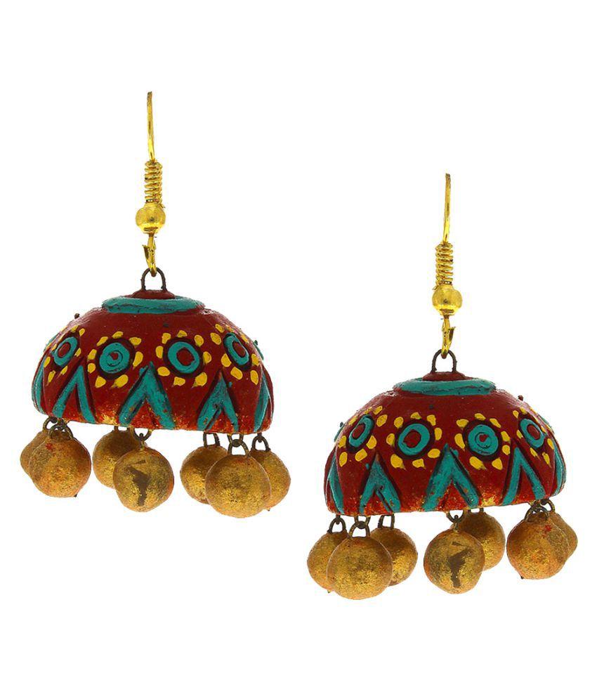 Anuradha Art Multi Colour Adorable Stylish Terracotta Jhumki/Jhumkas Earrings For Women/Girls