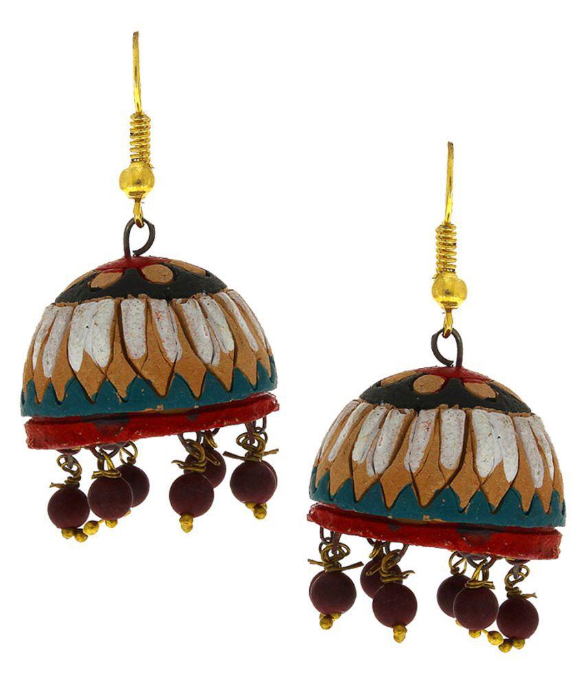 Anuradha Art Multi Colour Beautiful Fancy Design Hand-Made Terracotta Jhumki/Jhumkas Earrings For Women/Girls