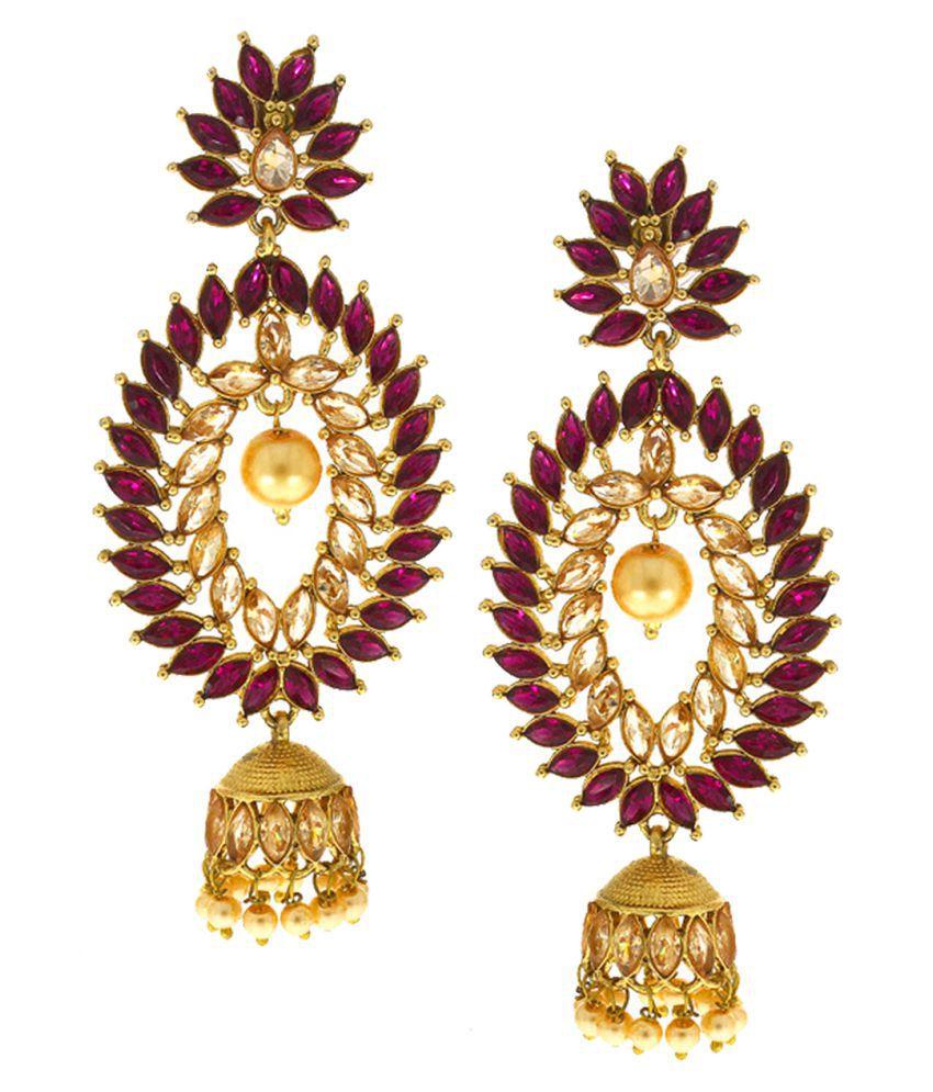 Anuradha Art Purple Colour Studded Shimmering Stone & Pearl Beads Droplet Designer Jhumki Style Traditional Earrings For Women/Girls