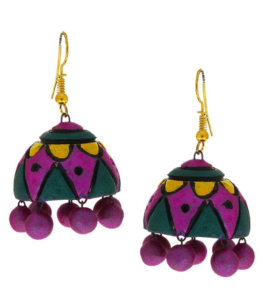 Anuradha Art Violet-Green Colour Beautiful Hand-Made Terracotta Jhumki/Jhumkas Earrings For Women/Girls