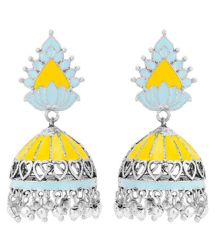 Meenakari Jhumka Earrings with Metallic Drops