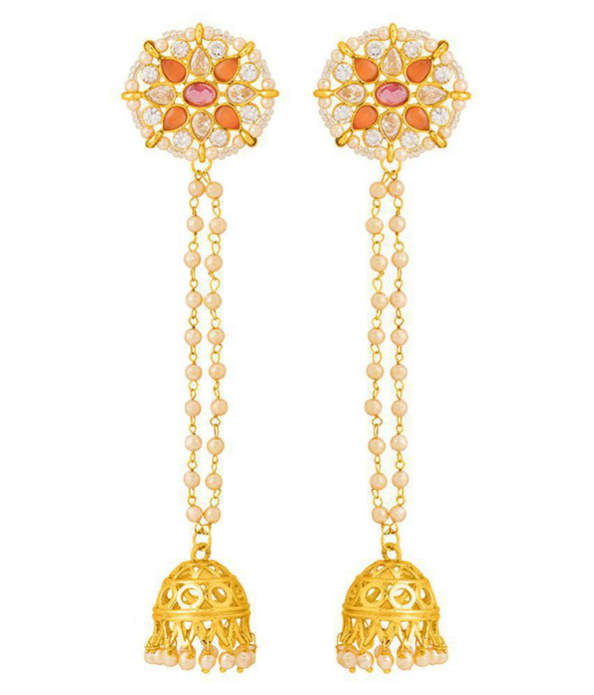 Voylla Embellished Floral Jhumka Earrings with Pearls