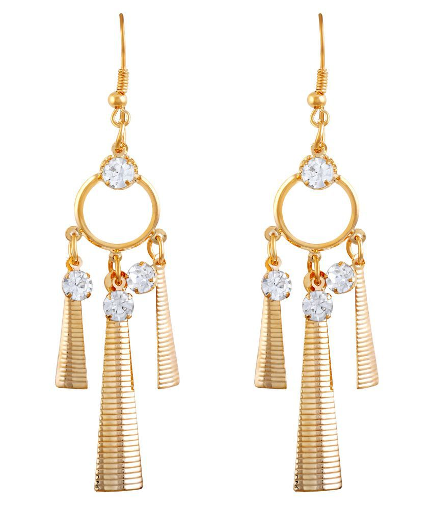 Asmitta Eye-Catchy Pear Shape Gold Plated Hanging Earring For Women