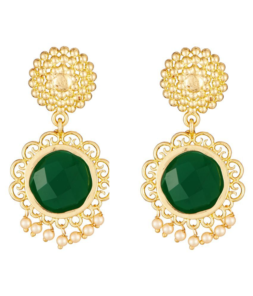 Elakshi Artistically Crafted  Green Stone Gold Plated Women Earrrings (SC_1026_ER)