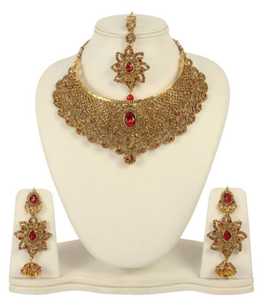 MUCH MORE Indain Traditional Gold Tone Red Fashion Necklace with Earring
