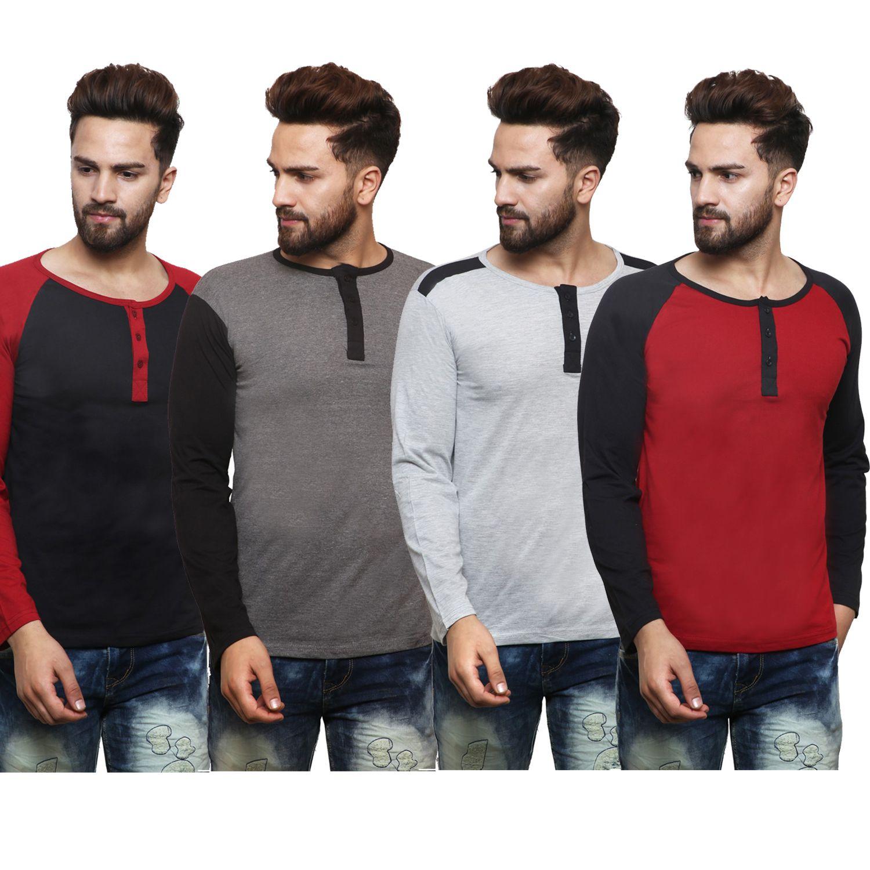 X-CROSS Multi Henley T-Shirt Pack of 4