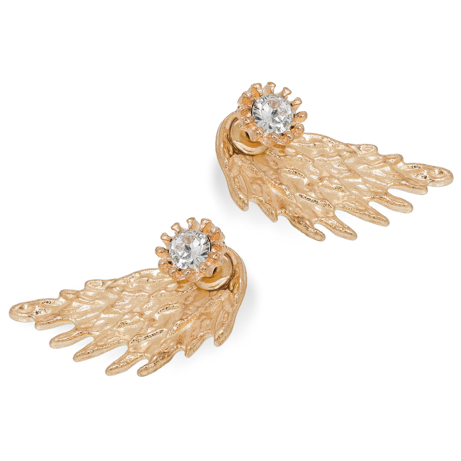 Aadita Wings Design Gold Plated Stud Earrings for Women and Girls