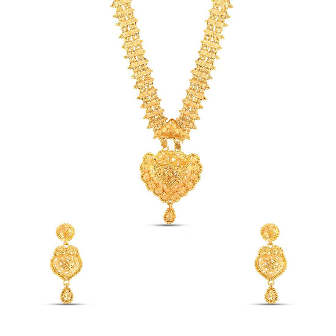 Maalyaa Brass Swaga Long Necklace Set