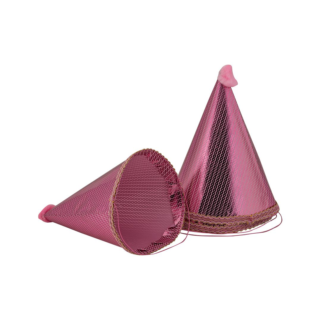 Enjoy Light Pink Lace Cone Cap (Pack Of 4)