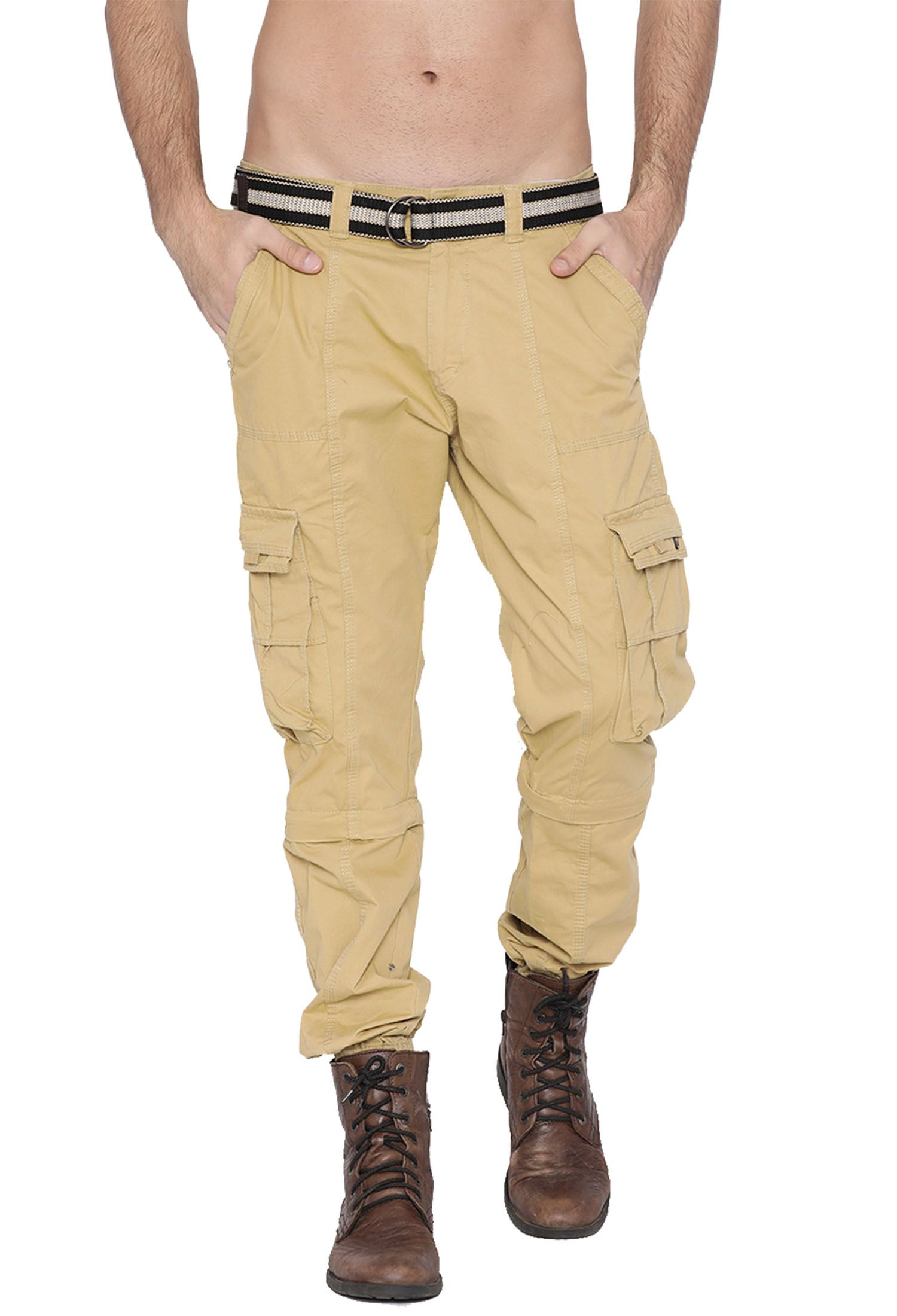 FIFTY TWO Beige Regular -Fit Flat Joggers