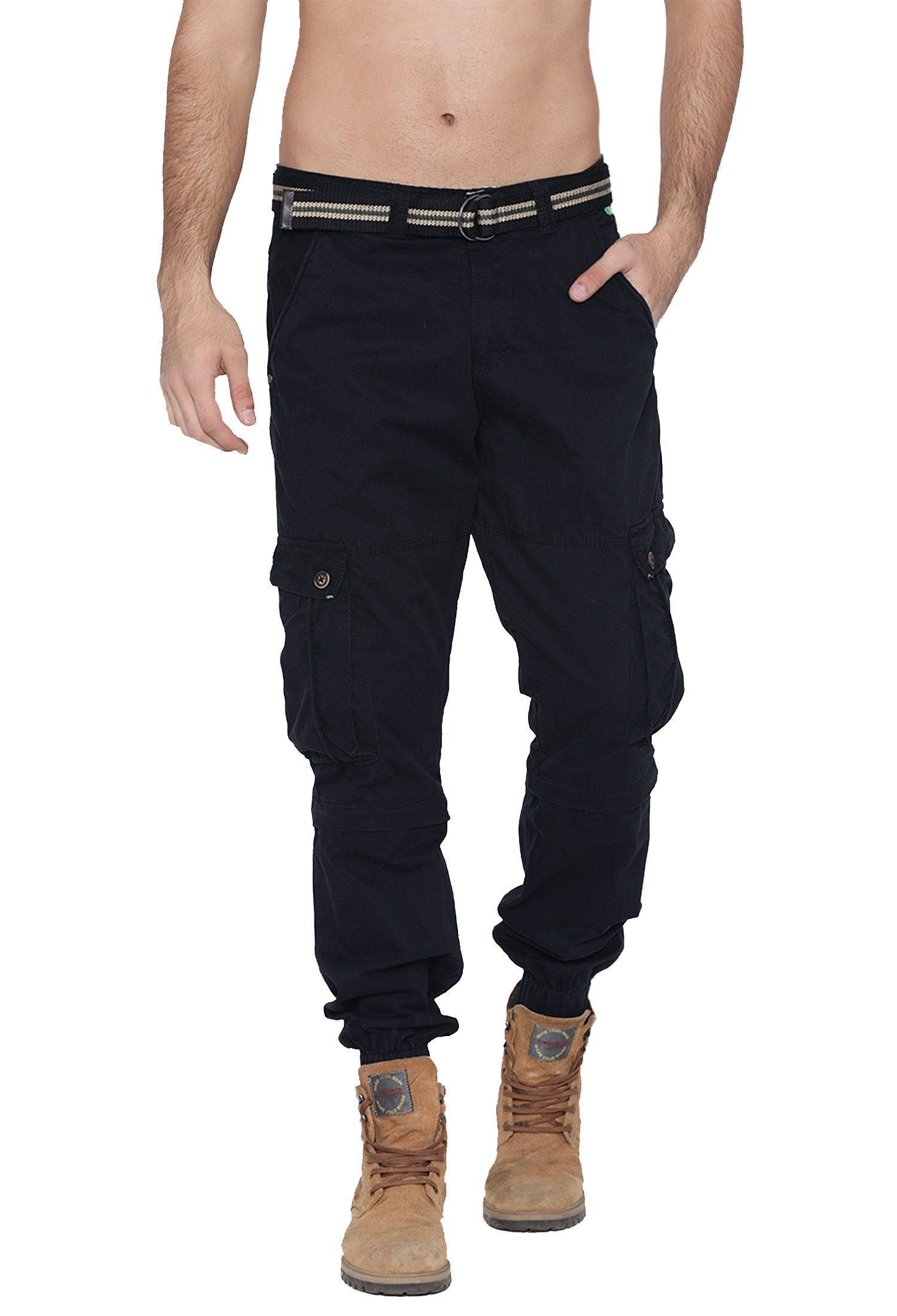 FIFTY TWO Black Regular -Fit Flat Joggers