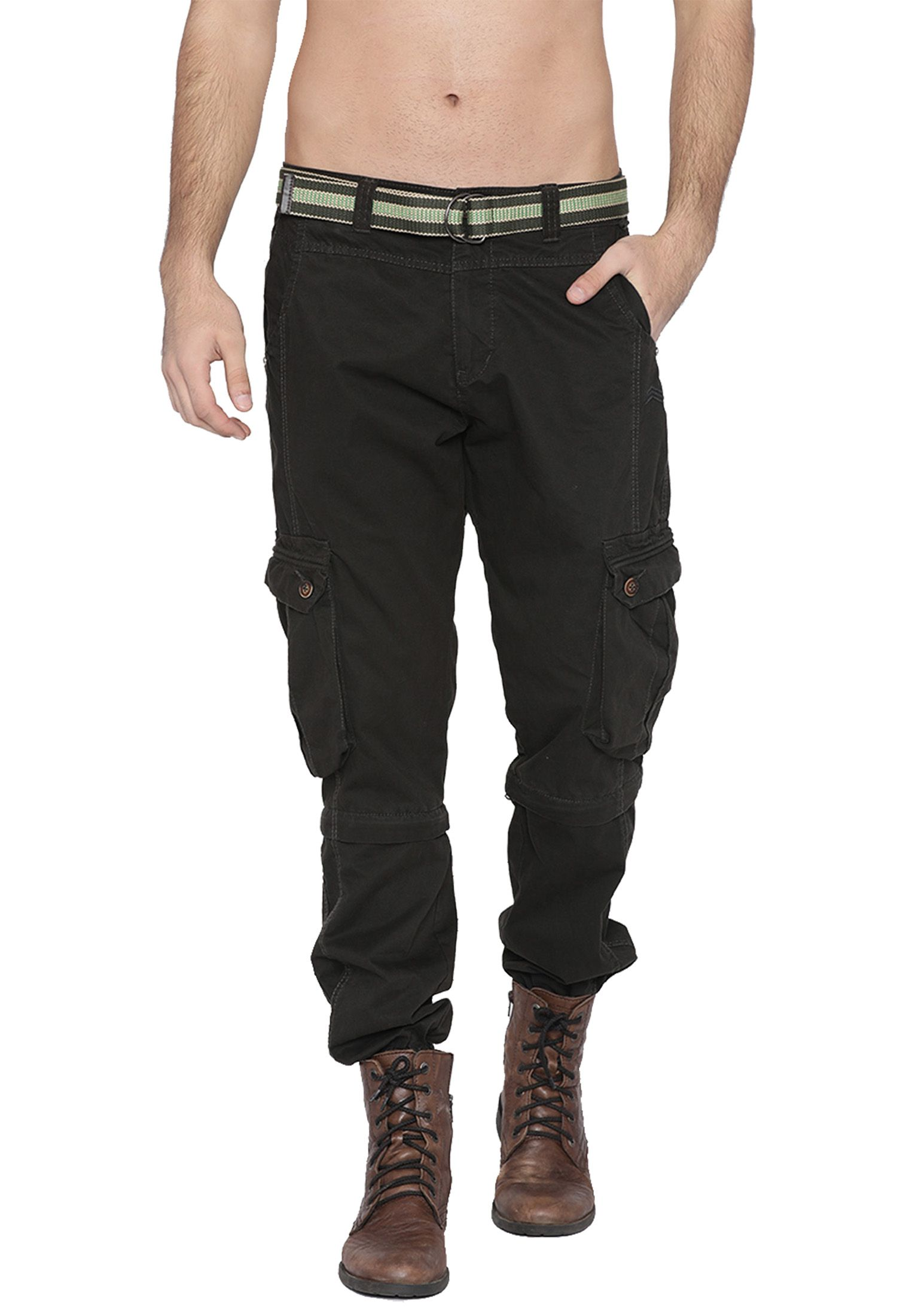 FIFTY TWO Olive Green Regular -Fit Flat Joggers