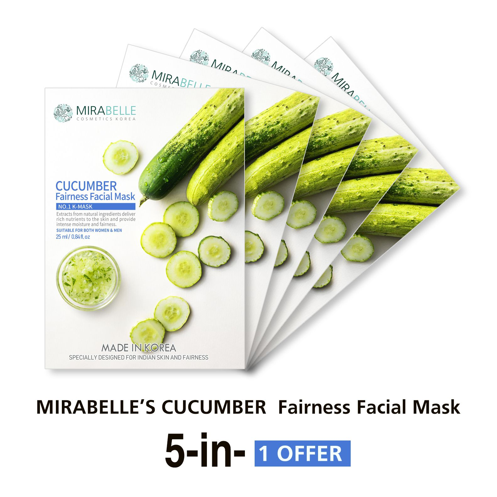 MIRABELLE KOREA CUCUMBER FAIRNESS Face Mask Each 25 ml Pack of 5