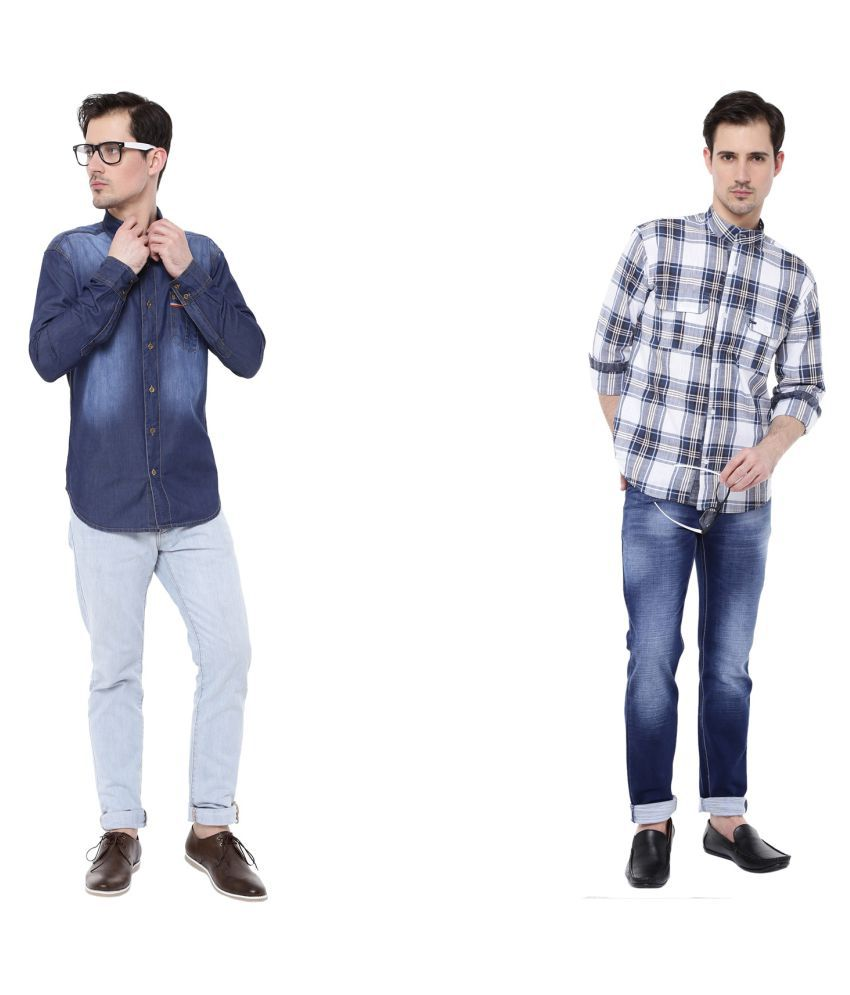 5EM Multi Slim Fit Shirt Pack of 2