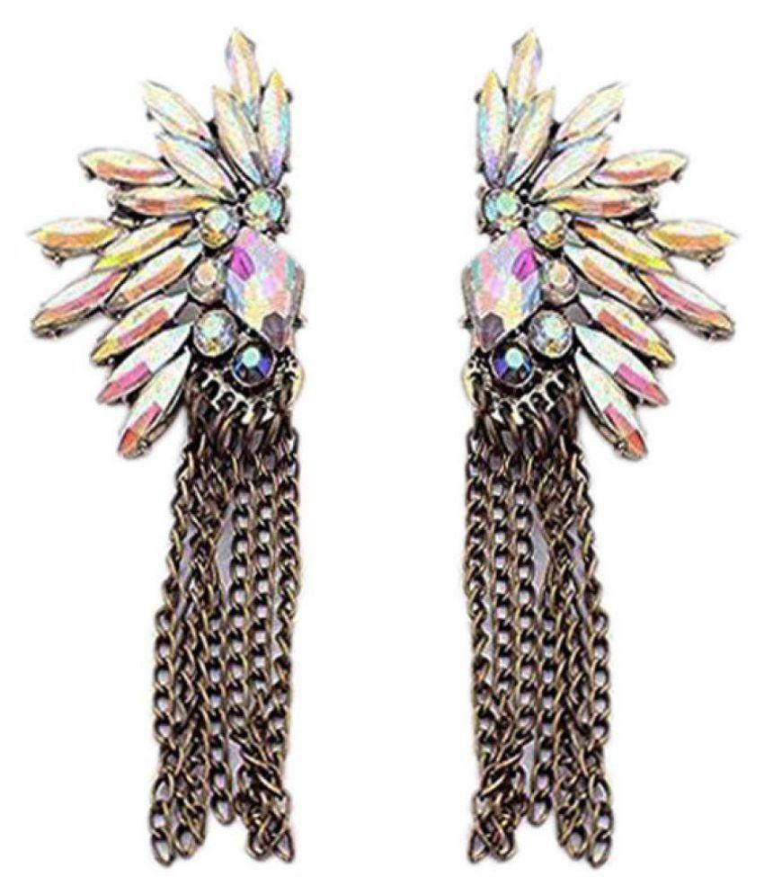 Jewel Touch Fashion Brass Dangle & Drop Earring For Women (White)