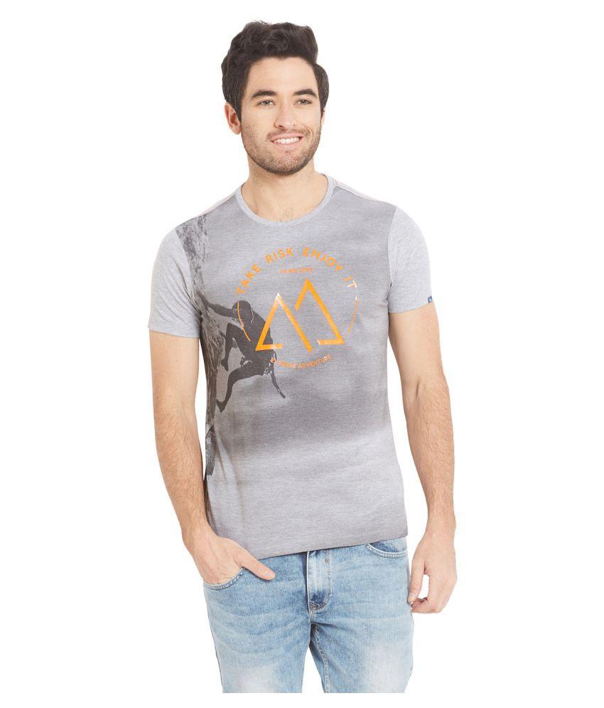 Spykar Grey Round T-Shirt Pack of 1