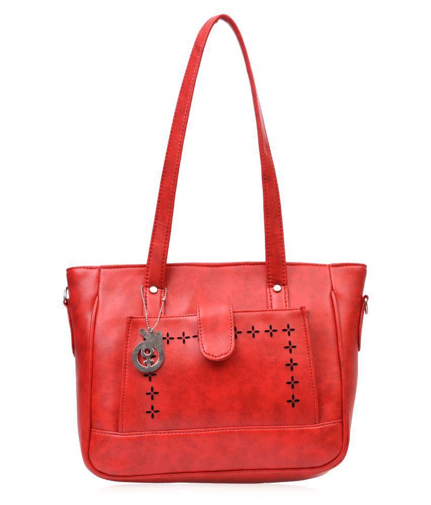 BELIZZA Red Faux Leather Shoulder Bag