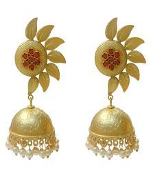 Ratnatraya Red Artificial Gemstones Half Flower Jhumka Earrings Fancy Designer Gold Polished Zumka Ear Tops For Girls And Women