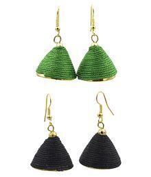 Three Shades Silk Work Combo of 2 Drop Artificial Earrings for Girls & Women