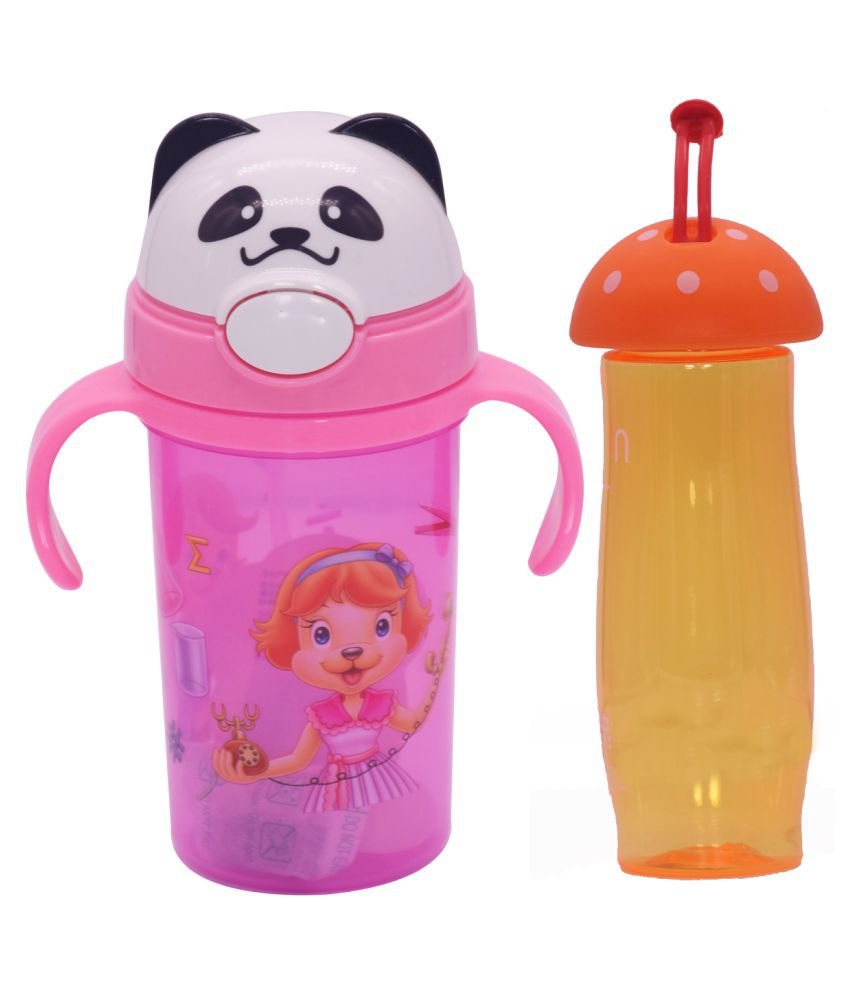 TINYTOT Kids Water Bottle 450 ml (Multicolor) Pack of 2