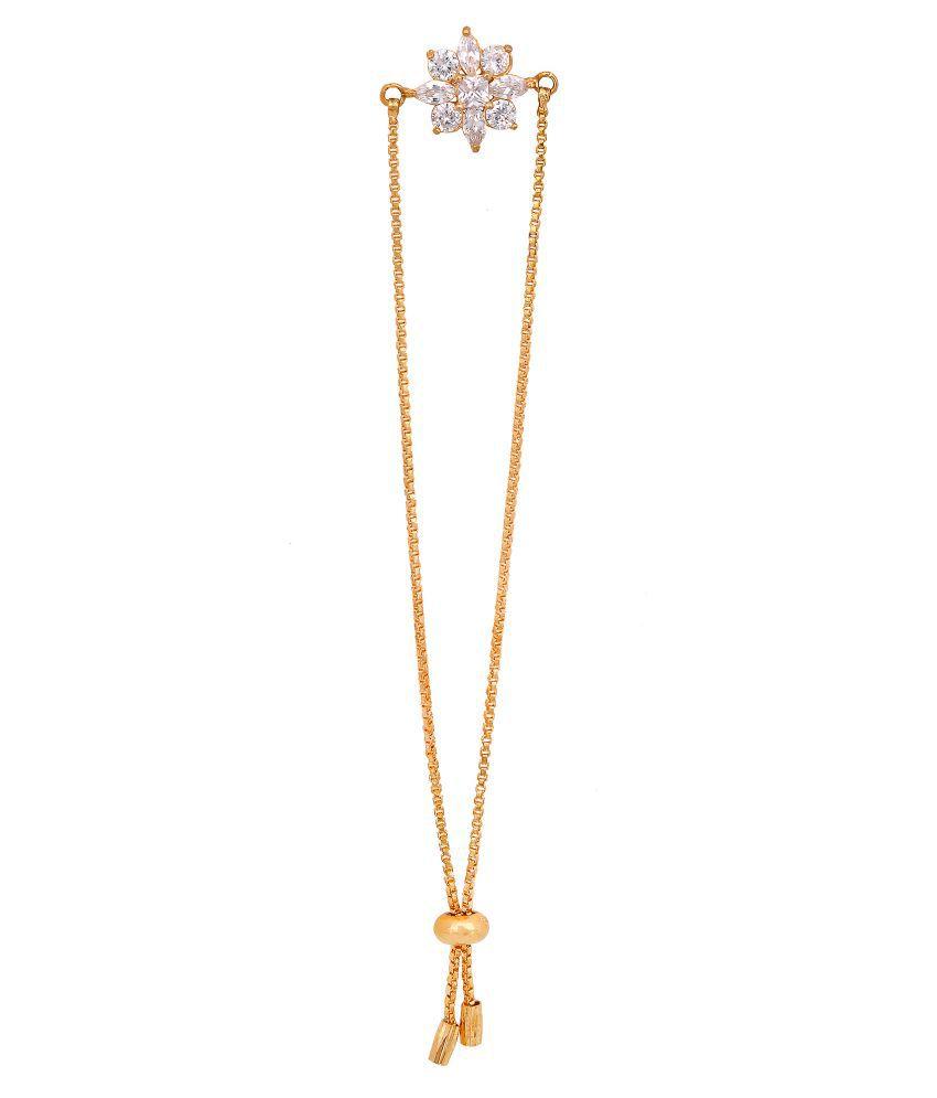 Foru Crystal Stone Bracelet Golden Fashion Wedding Festival Jewellery