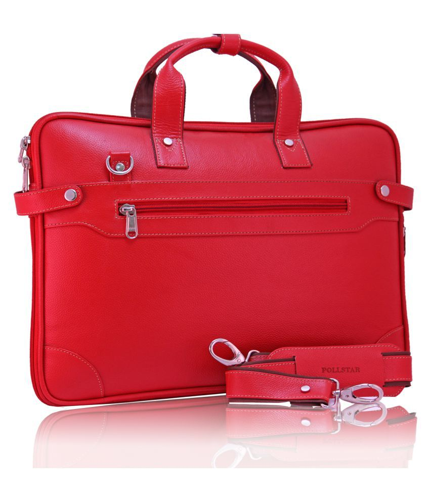 POLLSTAR (MB9999RD) Expandable Premium Red Leather Office Messenger Bag