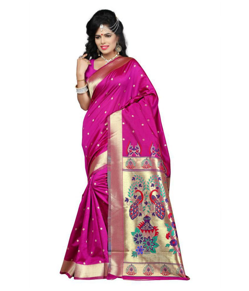Urban India Pink Art Silk Saree