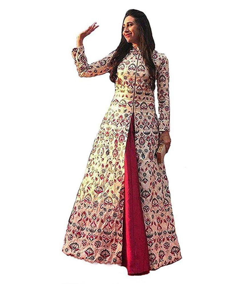 Limbudi creation Poly Silk Pink Gown - Buy Limbudi creation Poly ...