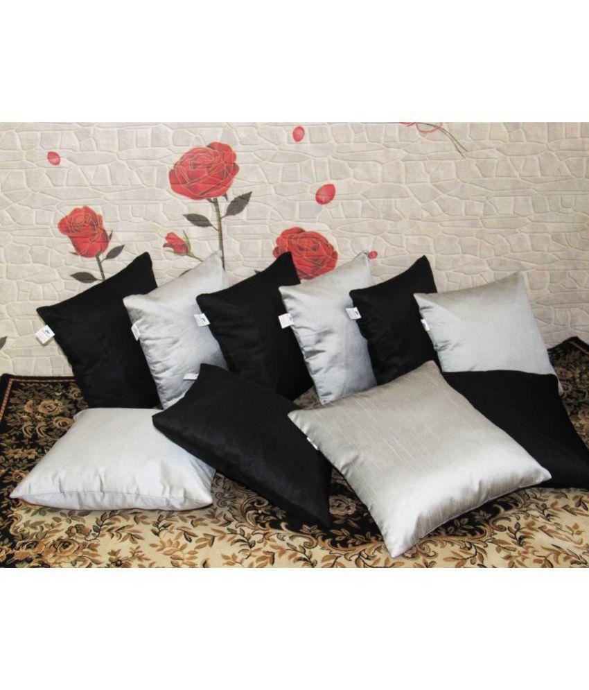 Zikrak Exim Set of 10 Polyester Cushion Covers 30X30 cm (12X12)
