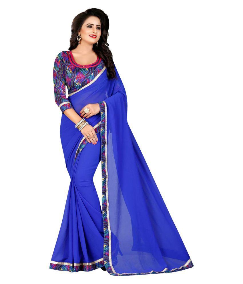 Ranu's Blue Chiffon Saree