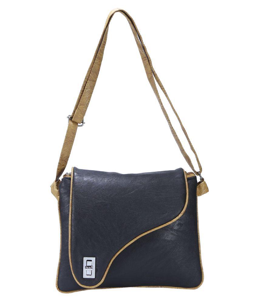 Desence Black Faux Leather Sling Bag