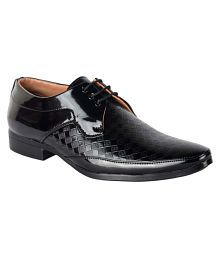 1AAROW Derby Artificial Leather Black Formal Shoes