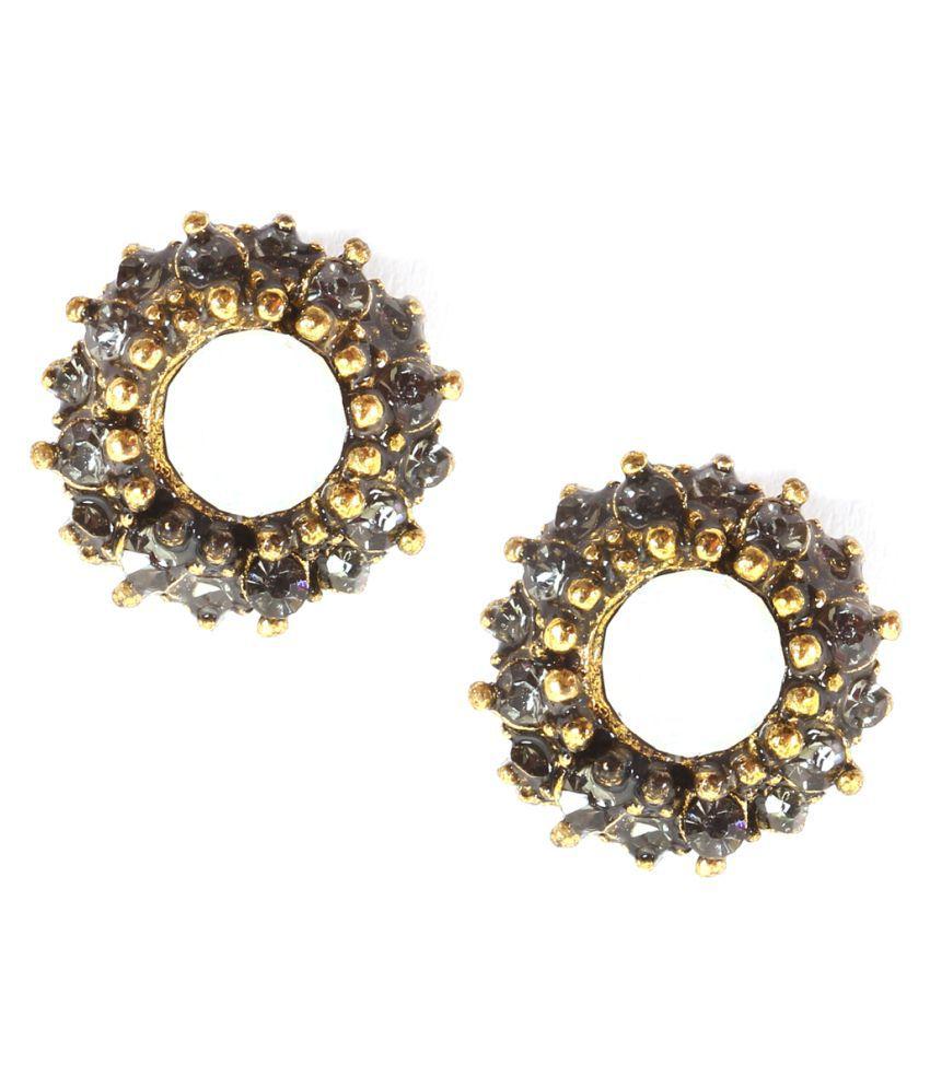 ayesha Detailed Metallic Gold Crystal stone White Ear Studs