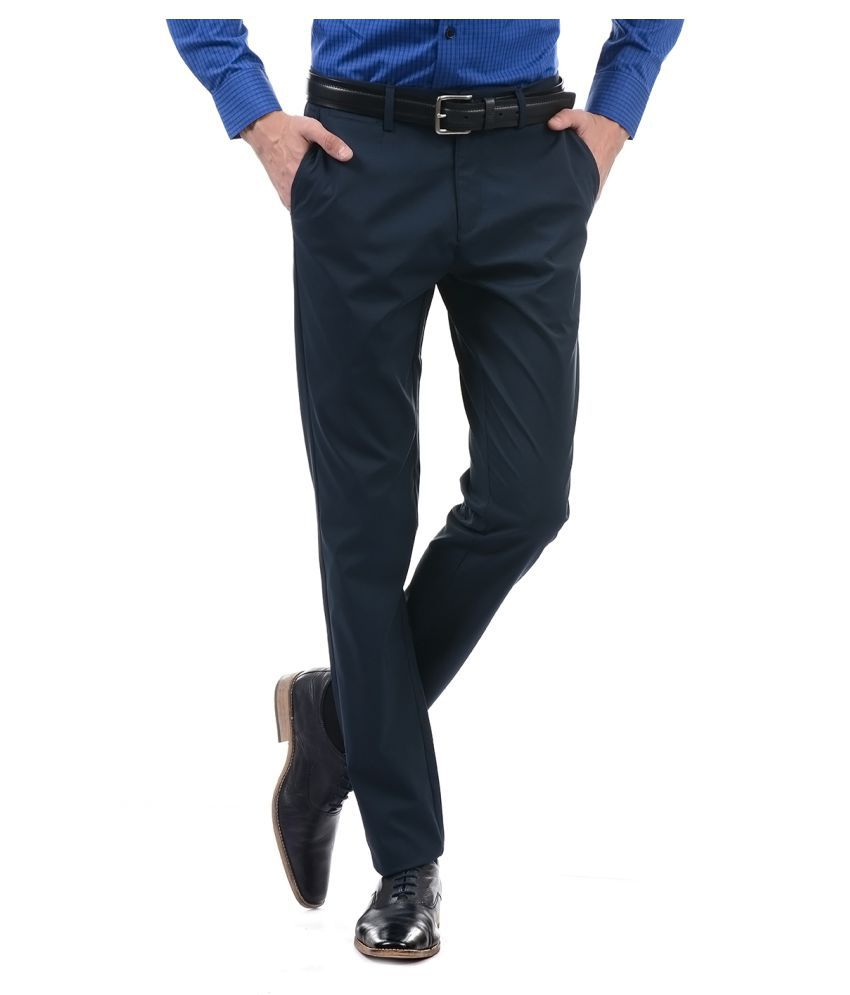 U.S. Polo Assn. Dark Blue Slim -Fit Flat Trousers