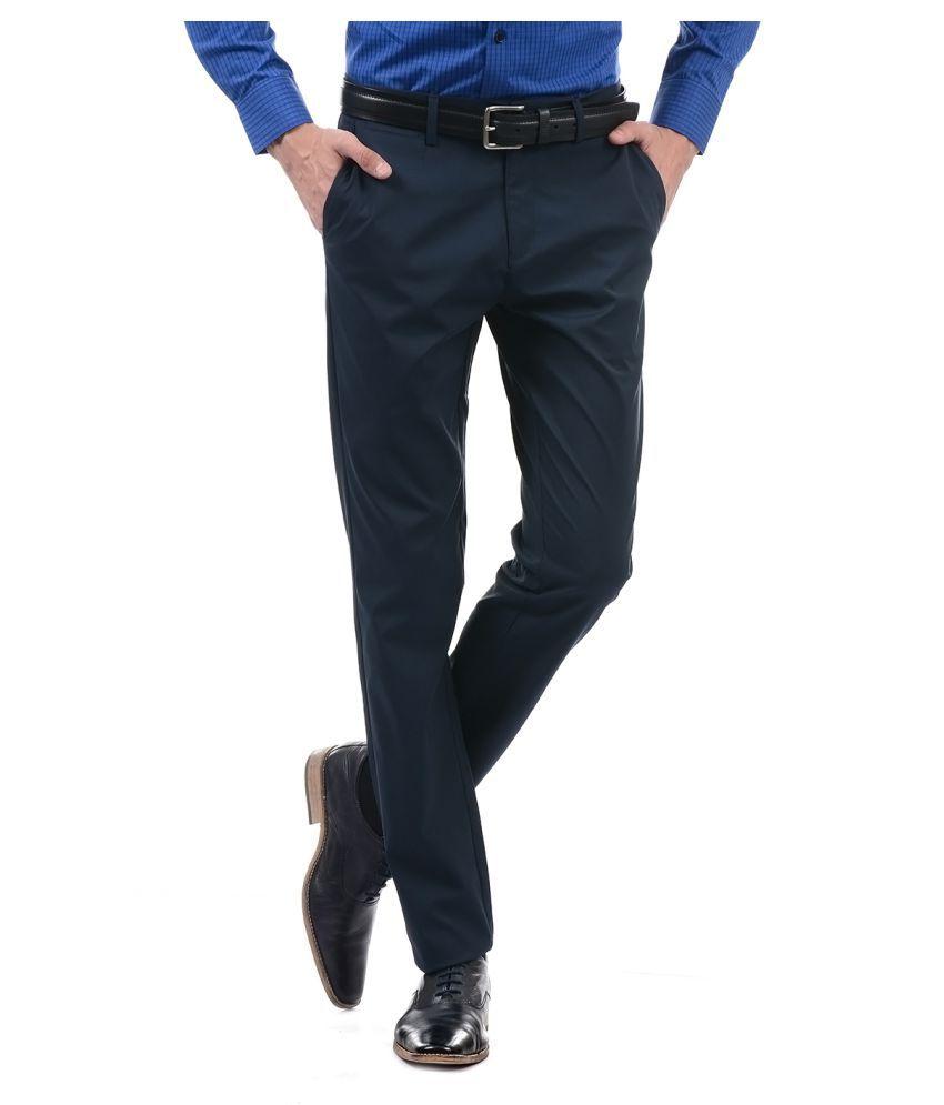 U.S. Polo Assn. Dark Blue Slim -Fit Flat Trousers